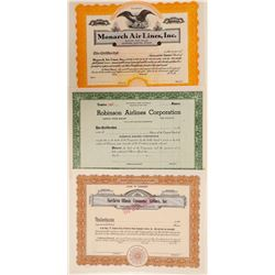 Three Different Unissued Airline Stock Certificates  (102573)