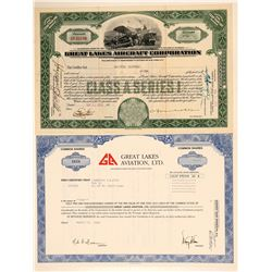 Two Great Lakes Aircraft Stock Certificates  (102617)