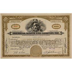 American Austin Car Company Stock Certificate  (103461)