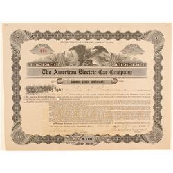 American Electric Car Company Stock Certificate  (103430)