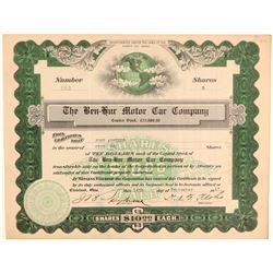 Ben-Hur Motor Car Company Stock Certificate  (103431)