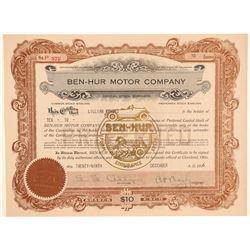 Ben-Hur Motor Car Company Stock Certificate  (103441)