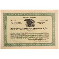 Duesenberg Automobile & Motors Co., Inc. Stock Certificate  (103444)