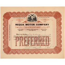 Requa Motor Company Stock Certificate  (103434)