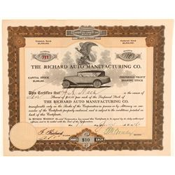 Richard Auto Manufacturing Company Stock Certificate  (103432)