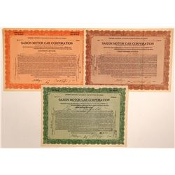 Saxon Motor Car Corporation Stock Certificates  (103469)