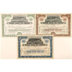 Three Different Hudson Stock Certificates  (91659)