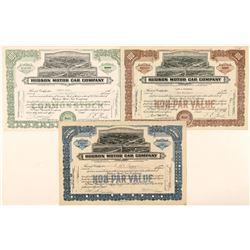 Three Different Hudson Stock Certificates  (91659)