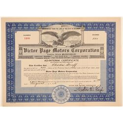 Victor Page Motors Corporation Stock Certificate  (103438)