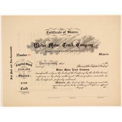 Walter Motor Truck Company Stock Certificate  (103437)