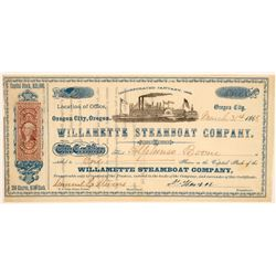 Willamette Steamboat Company Stock - Issued to Captain Boone  (91958)