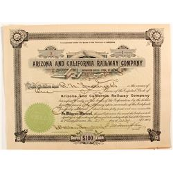 Arizona and California Railway CO. Stock  (81720)