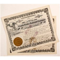 Castle Valley Railroad Company Stock Certificate (2)  (81705)