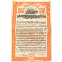 Denver & Rio Grande Western Railroad Co. Orange Bond (104881)