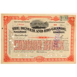 Denver and Rio Grande Railroad Co. Red Stock (104824)