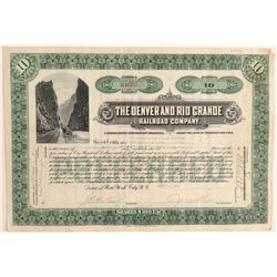 Denver and Rio Grande Railroad Co. Green Stock  (104879)