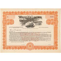 Hawaii Consolidated Railway, Ltd. Stock Certificate  (101542)
