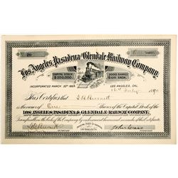 Los Angeles, Pasadena and Glendale Railway Co. stock  (102457)