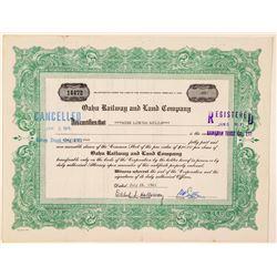 Oahu Railway & Land Company Stock Certificate  (101533)