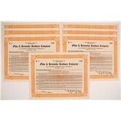 Ohio & Kentucky Railway Company Stock Certificates  (81102)