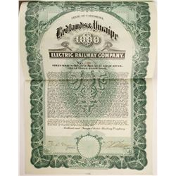 Redlands and Yucaipe Electric Railway Co Bond  (82715)