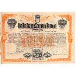 Rio Grande Southern Railroad Co. Bond #1 (104842)