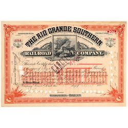 Rio Grande Southern Railroad Co. issued to Otto Mears' Wife and signed by Mears (104848)