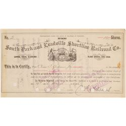 South Park and Leadville Shortline Railroad Co. - Certificate # 2 (104825)