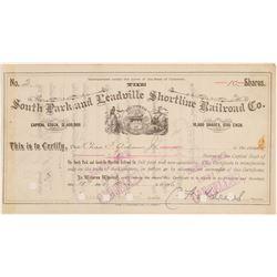 South Park and Leadville Shortline Railroad Co. - Certificate # 2 (104825)