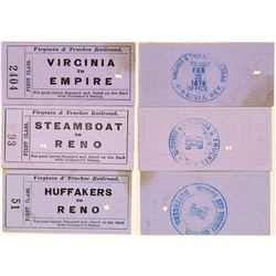 Three Virginia & Truckee Railroad Tickets  (102247)