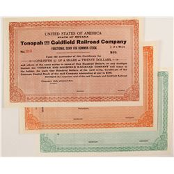 Tonopah and Goldfield Railroad CO certificates (3)  (81730)