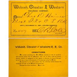 Wabash, Chester & Western Railroad Co. Pass, 1887  (60350)