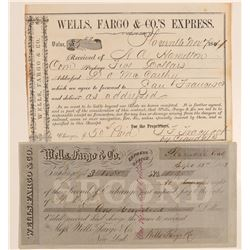 Placerville Wells Fargo Second of Exchange and Large Receipt  (102268)
