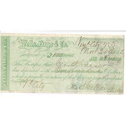 Virginia City and Gold Hill Wells Fargo Territorial Certificates of Deposit  (99629)