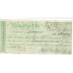 Virginia City and Gold Hill Wells Fargo Territorial Certificates of Deposit  (99629)