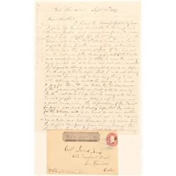 Genoa, Wells Fargo Entire with Fabulous Mining Letter to Capt. Jones from FAS Jones  (99124)
