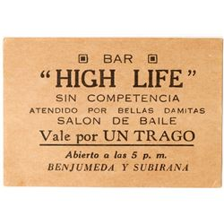 Dance Ticket from High Life Bar  (103513)
