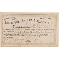 Boston Base Ball Association Stock - RARE and VERY EARLY NUMBER 7  (101426)