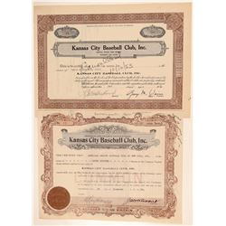 Kansas City Blues Stock Certificates (Minor League Team of the New York Yankees)  (101433)