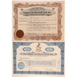 Two Missouri Baseball Stock Certificates: Kansas City Blues and Boltimore Oriles.   (101429)