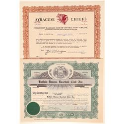 Buffalo Bisons and Syracuse Chiefs Stock Certs  (101413)