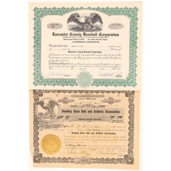 Two Pennsylvania Baseball Stock Certificates  (101416)