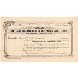 Salt Lake Baseball Club of the Pacific Coast League Stock  (101424)