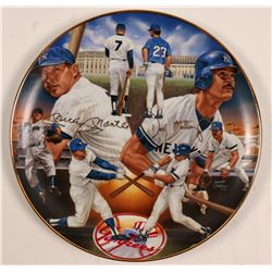 1987 Don Mattingly and Mickey Mantle Signed Collector Plate  (104093)