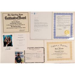 Barry Bonds Awards and Certificates  (104116)