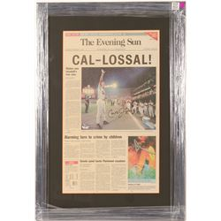 Cal Ripken Jr. signed The Evening Sun front page news   (100573)