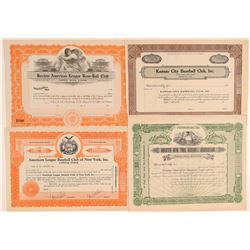 Four unissued Major League Baseball Stock Certificates  (101417)