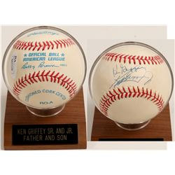 Ken Griffey Sr. and K. Griffey JR. sign baseball  (100294)