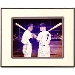 Mickey Mantle & Joe DiMaggio Yankees Dual-Signed 8x10 Print   (104554)