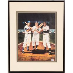 Mickey Mantle, Duke Snider, Willie Mays Signed Lithograph Framed  (104549)